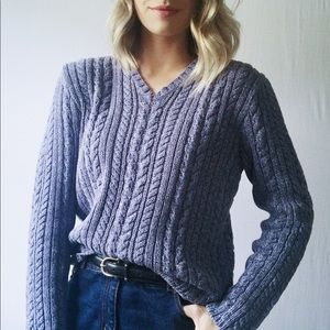 J. Crew Collection Cable Knit Cotton Vneck Sweater